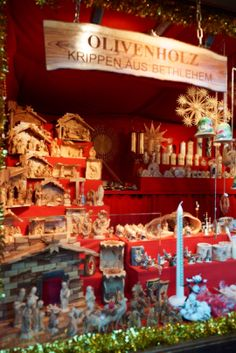Olive wood cribs in the Rathaus Christmas Market in Vienna