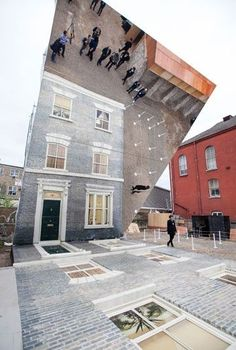 """""""Dalton House"""", large-scale installation by Leandro Erlich, displayed June London, England, as part of """"Beyond Barbican"""" summer events series ref: avaxnews.me/appealing/Leandro_Erlich_Creates_a_House_of_Mirrors. House Of Mirrors, Instalation Art, Interactive Art, Mirror Art, Mirror Ideas, Art Plastique, Public Art, Victorian Homes, Urban Art"""