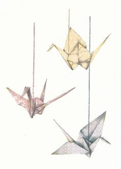 paper cranes print by mizaru
