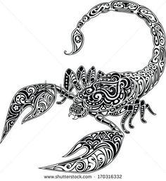 scorpio black and white | Scorpio Stock Photos, Illustrations, and Vector Art