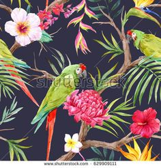 Watercolor tropical tree pattern with tropical plants. Flowers of hibiscus, blooming ginger, strelitzia , protea, palm leaves. Parrot ara and toucan
