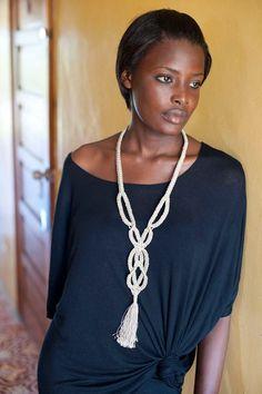 Macrame tassel cream necklace..  via Etsy.: