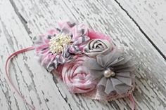 Nod and a Wink pink and grey chevron bloom by babybirdieboutique, $17.50