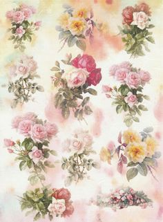 Rice Paper for Decoupage,Scrapbooking Sheet /Craft Paper Romantic Roses