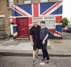Our true colours: Vivienne and Alex Tate have turned their home in Teddington, South-West London, into a giant Union Jack, winning the title of most patriotic home from website localpeople.co.uk.