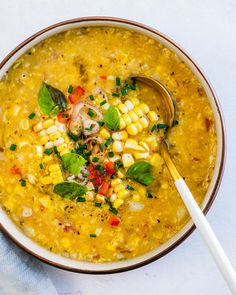 This simple corn soup is a seasonal way to enjoy fresh corn! The sunny flavor is sweet and nuanced, and it's full of healthy vegetables. | healthy dinner recipes | healthy soup recipes | sweet corn recipes | #cornsoup #cornrecipe #easycornsoup #corn #recipewithcorn #soup #recipe #healthysoup Sweet Corn Recipes, Corn Soup Recipes, Best Soup Recipes, Healthy Soup Recipes, Vegetarian Recipes, Spinach Apple Salad, Vegan Sour Cream, Couple Cooking, Vegetarian Cookbook