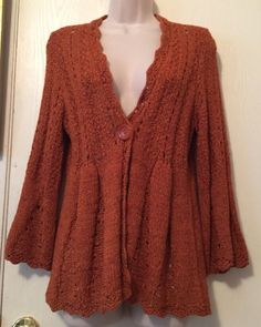Tweeds Wool Blend Cardigan Sweater Babydoll Style Warm Orange Color - Large  #Tweeds #Cardigan