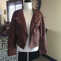 Gorgeous Vegan Leather Motorcycle Jacket Gorgeous cognac colored Vegan leather, super supple. Amazing Motorcycle jacket style. This is definitely a statement piece. Jackets & Coats Blazers