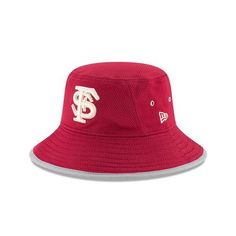 New Era Men's Florida State University Team Training Bucket Hat (Red Dark, Size One Size) - NCAA Licensed Product, NCAA Men's Caps at Academy Sports