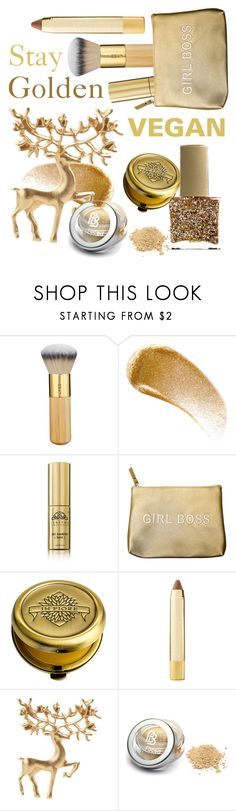 """""""Cruelty free gold ⭐️"""" by huxmay ❤ liked on Polyvore featuring beauty, tarte, BBrowBar, Tabitha James Kraan, Secret Service Beauty, In Fiore, Axiology and ncLA"""