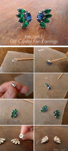 Thanks, I Made It: DIY Crystal Fan Earrings.  Glue them to the wax paper and peel off during the drying process.  int'resting...