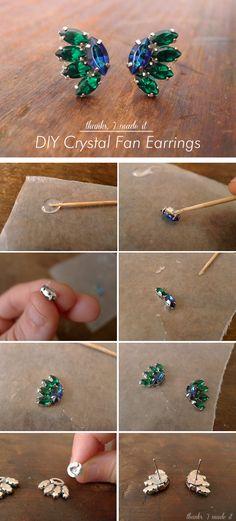 DIY Crystal Fan Earrings