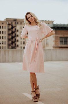 bacbdf4805d SYDNEY - Peach Button Up Dress - NURSING FRIENDLY Modest Lace Dress