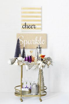 """Pin for Later: 3 Bar Carts (and Matching Cocktails) Your Holiday Party Needs Glamour Bar Cart With """"Tinsel Time"""" Cocktail"""