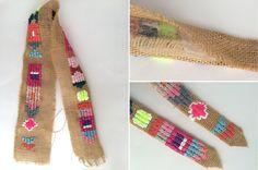 Es un sencillo cinturón de arpillera bordado con rafia de colores y algunas cuentas que hice para mi hija. Es sencillo, rápido de hace... Denim Jacket Embroidery, Wool Embroidery, Boro, Fabric Jewelry, Diy Jewelry, Embroidery Techniques, Hippie Boho, Needlepoint, Lana