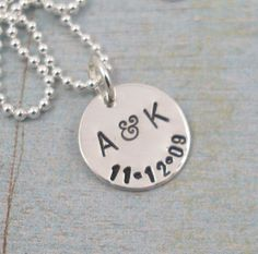 Hand Stamped Jewelry Personalized Jewelry by TinyTokensDesigns  ❤️ Aren&Kenna ❤️ 8/25/11