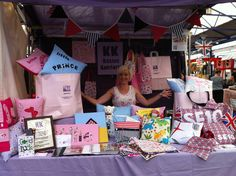Kasies Komforts at Greenwich market with our pink twist paper bags.