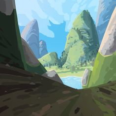 todays maysketchaday, this painting was entirely different at the beginning, I think it was a city scene, but half way through the process of doing color comps and value comps I had a deep and uncontrollable urge to paint nature. So i pretty much...