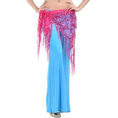 Fuchsia sold out. Like Blushing Pink & Yellow ( bright) have Royal Blue.  Dancewear Polyester With Sequined Belly Dance Hip Scarf/Belt for Ladies – USD $ 7.99