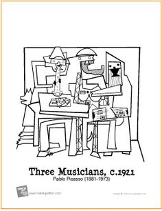 Three Musicians (Picasso) | Free Coloring Page - http://makingartfun.com/htm/f-maf-printit/three-musicians-coloring-page.htm