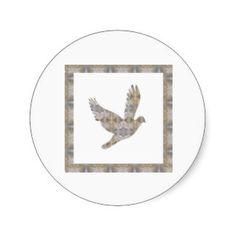 Lucky Angel Bird CRYSTAL Jewel NVN448 kids LARGE Round Sticker