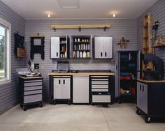 Great tidy and efficient Garage with husky workbench make it spacious and safe