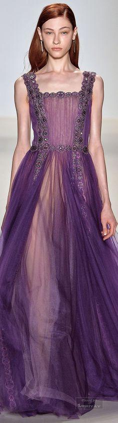 Tadashi Shoji Fall 2015 Ready-to-Wear Fashion Show - Look Tribel Couture Fashion, Runway Fashion, Fashion Show, Fashion Design, Tadashi Shoji, Glamour, Purple Fashion, Couture Dresses, Purple Dress