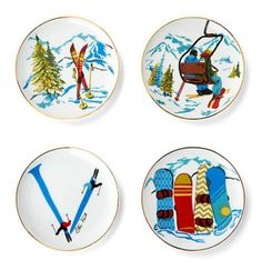 Apres ski plates via cwonder.com These babies would look great next to my Norman Rockwell collection!!