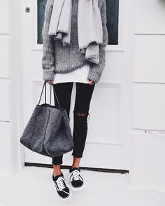 Pinterest: @eighthhorcruxx. Black Ripped jeans, grey sweater and vans