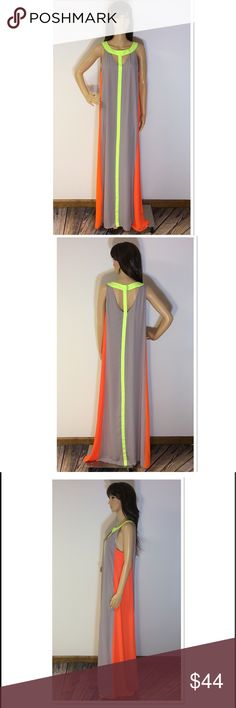 """🎈1 HR SALE🎈STUNNING NEON MAXI DRESS Beautiful maxi dress with a cutout neckline. Neon orange, green and gray. Pull on style and fully lined. There's no size or material contents inside but it's a polyester/chiffon material. Measurements lying flat Armpit to armpit 19.5"""" length approximately 59"""" Boutique Dresses Maxi"""