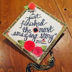 Beauty and the beast graduation cap, Disney graduation cap, high school graduation cap, decorated gr Disney Graduation Cap, Graduation Cap Designs, Graduation Cap Decoration, Nursing Graduation, Senior Quotes High School Graduation, Decorated Graduation Caps, Graduation Flowers, Graduation Outfits, Graduation Celebration