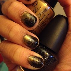 Theta love black and gold gradient nails