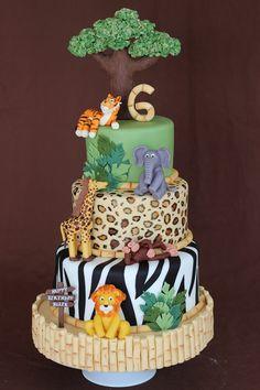 Birthday Cakes for Boys: Jungle Cake via Sweet Dreams Baby Cakes, Baby Shower Cakes, Cupcake Cakes, Jungle Safari Cake, Safari Cakes, Jungle Theme Cakes, Jungle Party, Safari Party, Zoo Cake