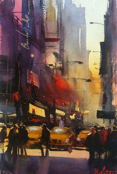 Watercolor Painting by Alvaro Castagnet - Art People Gallery Watercolor City, Watercolor Artists, Watercolor Artwork, Watercolor Landscape, Urban Landscape, Landscape Art, 7 Arts, Impressionist Art, Urban Art