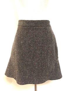 STELLA McCARTNEY Black/Multicolor Wool-Blend Flutter-Back A-Line Skirt Size: 42/6