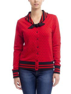 Pussy Deluxe Betty Dots Cardigan red Brands Pussy Deluxe Sweater & Hoodies