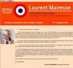 1ère emailing de Laurent Mairesse conseiller consulaire de la circonscription des français de l'étranger zone Sénégal, Guinée, Guinée Bissau, Cap Vert septembre 2014