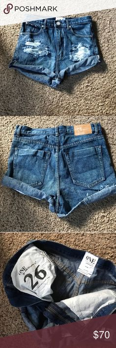 Make an offer One teaspoon shorts! Super cute:) brand new without tags. They are amazing they're just too big:/ I wanted them more a high waisted fit but went with my normal size. They fit perfectly if I wanted to wear it the way it's shown but I hoped it would be slightly higher waisted:) if you want the high waist look they fit a 28 regular. If you like the relax fit it's a true 26 One Teaspoon Shorts Jean Shorts