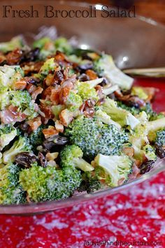 This sweet, savory and crunchy Fresh Broccoli Salad is always on my holiday dinner table. With sweet raisins, smoky bacon and almonds this salad compliments all the savory dishes that are traditionally served during the holidays.