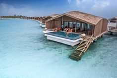 The Finolu Villas on stilts, located in Club Med Kani, on Maldives asian island. Experience luxury with a relaxing twist.