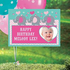 Add a special message and digital photo that your birthday party guests will not soon forget! Customize this Elephant Custom Photo Yard Sign with your own ...