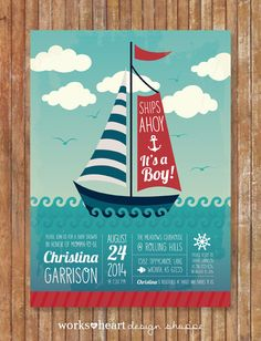 PRINTABLE Ships Ahoy, It's A Boy! Baby Shower Invite on Etsy, $18.00