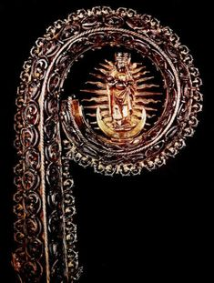 (1) Silver crosier of Bishop Andrzej Krzycki by Anonymous from Kraków, 1527-1535, Płock Cathedral, (2) Fragment of gold reliquary for the head of Saint Stanislaus by Marcin Marciniec, 1504, Cathedral Museum at Wawel Hill in Kraków, (3) Gold chalice founded by Anna Alojza Chodkiewicz by Anonymous from Poland, ca. 1633, Treasury of the Lublin Archcathedral, (4) Fragment of monstrance adorned with enamel by Anonymous from Poland, 1670s, Treasury of the Jasna Góra Monastery. #artinpl #silver Krakow, Casket, Persian Carpet, Byzantine, Coat Of Arms, Middle Ages, Rugs On Carpet, Poland, Cathedral