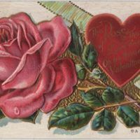Click on Image to Enlarge Here's a lovely Victorian Heart Scrap for your Valentine's Day Projects! This one has a pretty Roses Border, with a Cheerful looking Lily of the Valley Sprig in the center!