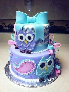 Such A Cute Owl Cake// Birthday Cakes// Owl Cakes// Purple & Blue Owl Cakes// Birthday Party Ideas// Cake Ideas Pretty Cakes, Cute Cakes, Beautiful Cakes, Beautiful Owl, Amazing Cakes, Owl Cakes, Cupcake Cakes, Ladybug Cakes, Fruit Cakes
