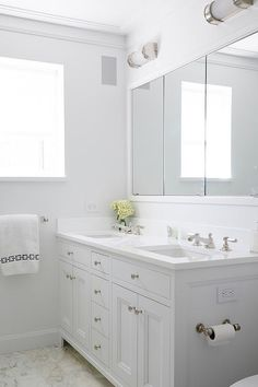 White Shaker Double Bathroom Vanity, Transitional, Bathroom