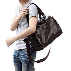 XW COSTUME PU Cuir sac de voyage grand sac à main de week-end Voyage Sac  Totes Sac à bandoulière Besace école Université (Marron) e358595299b
