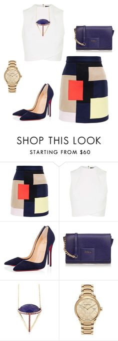 """""""Untitled #229"""" by nadiralorencia on Polyvore featuring MSGM, Topshop, Christian Louboutin, Furla, Lama Hourani and Burberry"""