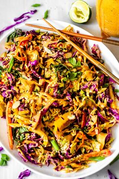 This Thai Crunch Salad is full of color and bold fresh flavors. Fresh herbs, shredded cabbage, and crunchy bell peppers all come together with a creamy peanut dressing. This easy recipe is the perfect Crunch Salad Recipe, Thai Crunch Salad, Thai Peanut Salad, Chicken And Cabbage, Thai Cabbage Recipe, Summer Cabbage Recipe, Recipes With Cabbage, Shredded Cabbage Recipes, Pesto Chicken Salads