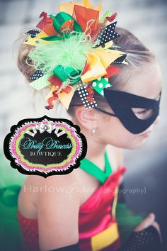 Batman and Robin...Robin Bling Over the Top Hair Bow Headband-Halloween, over the top hair bow, cute bows for girls, girly hair bows, sassy, funky, posh, trendy, girly bay, batman, robin, super hero, birthday hair bows, layered hair bows, black, yellow, green, red, lime green